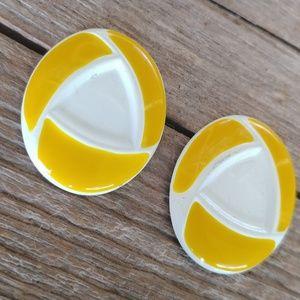 Happy yellow & white vintage earrings